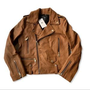 7 For All Mankind Camel Leather Motorcycle Jacket